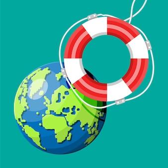 Planeta terra recebendo anel de bóia salva-vidas. salve o conceito de mundo. respeito pela natureza e pelo meio ambiente. protegendo o globo. cartografia e geografia, globo. ilustração vetorial plana