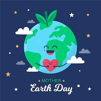 Planeta terra segurando um coração