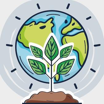 Planeta terrestre e planta com solo