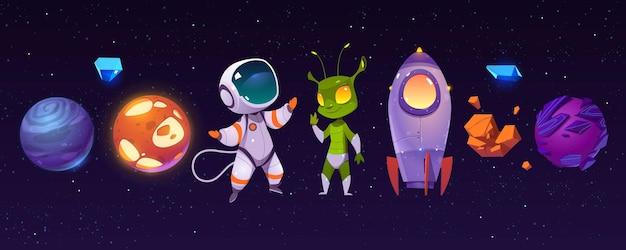 Planetas alienígenas, astronauta, extraterrestre engraçado e foguete
