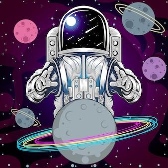 Planetas da estrela do espaço de astronout