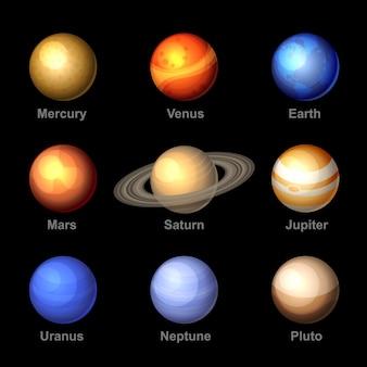 Planetas de cor brilhante de ícones do sistema solar.