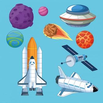Planetas de espaçonaves e ícones de satélite