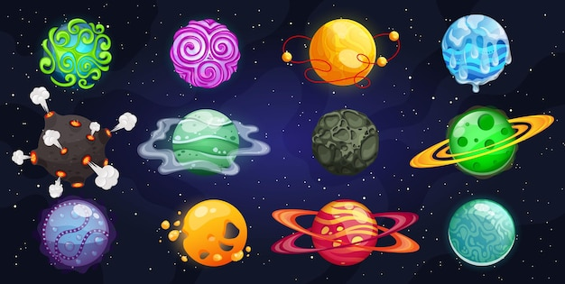 Planetas de fantasia. universo espacial colorido de diferentes planetas.