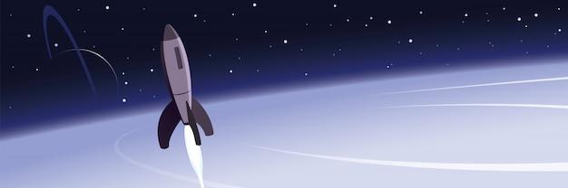 Planetas de foguetes e cena de exploração espacial