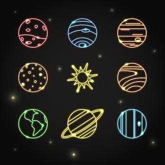 Planetas de néon e coleção de ícones de sol