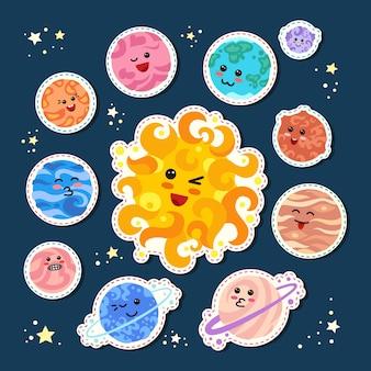 Planetas de remendo de moda ao redor do sol