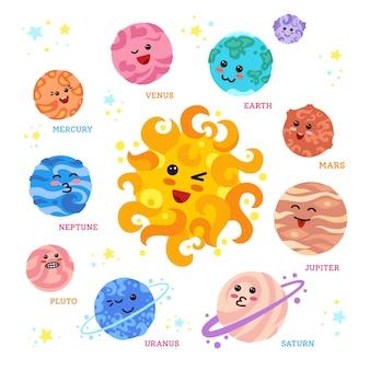 Planetas desenhados à mão ao redor do sol com rostos kawaii fofos