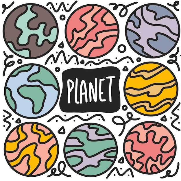 Planetas desenhados à mão doodle conjunto com ícones e elementos de design