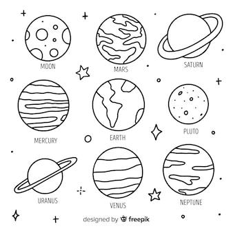 Planetas desenhados à mão em estilo doodle