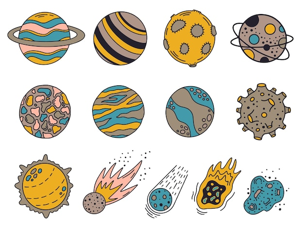 Planetas doodle. planetas e meteoritos do universo desenhados à mão, corpos bonitos do sistema solar
