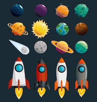 Planetas e foguetes da cena do sistema solar
