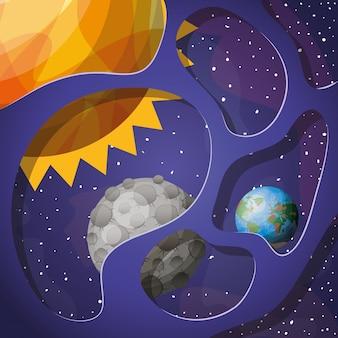 Planetas e sol do sistema solar