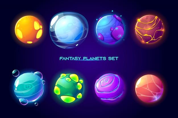 Planetas espaciais de fantasia para jogo de galáxia ui