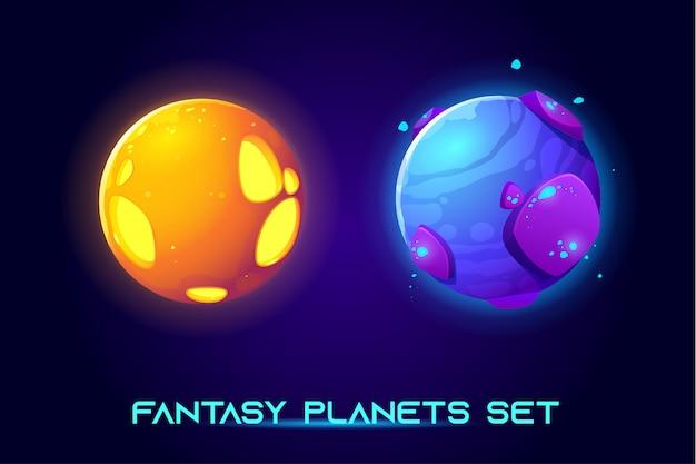 Planetas espaciais fantásticos para o jogo da galáxia ui