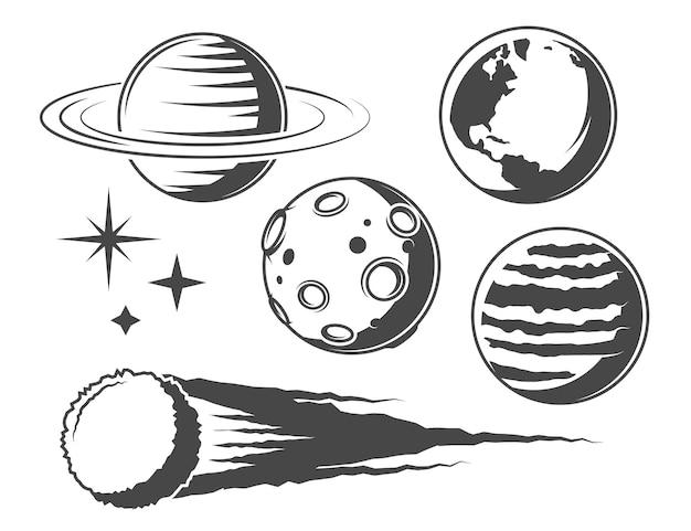 Planetas, ilustrações de objetos espaciais