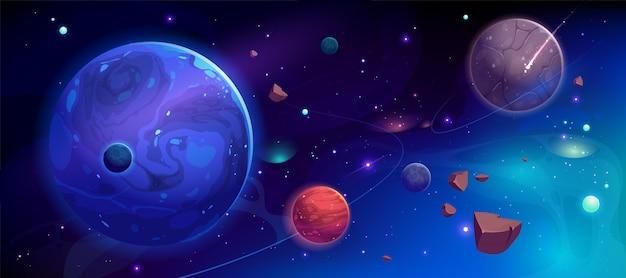 Planetas no espaço sideral com ilustração de satélites e meteoros