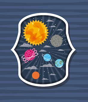 Planetas sobre rótulo listrado