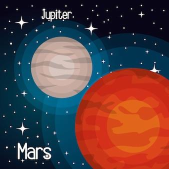 Planetas solares do sistema de astronomia isolados