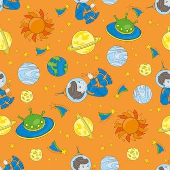 Planetman space seamless pattern