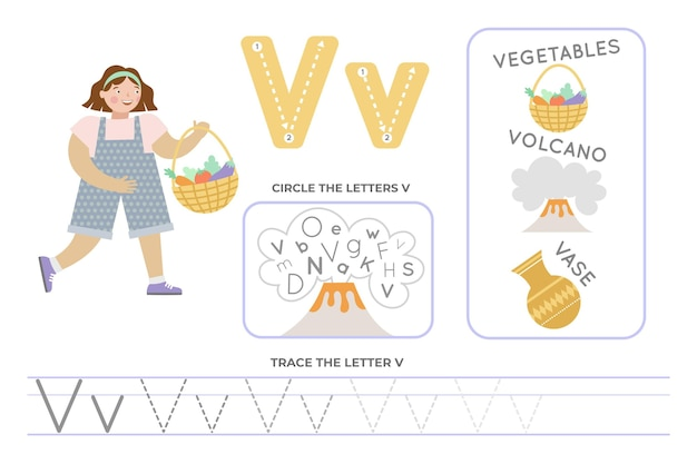 Planilha alfabética com a letra v