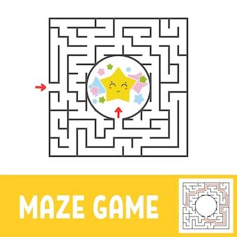 Planilha colorida do labirinto quadrado para crianças