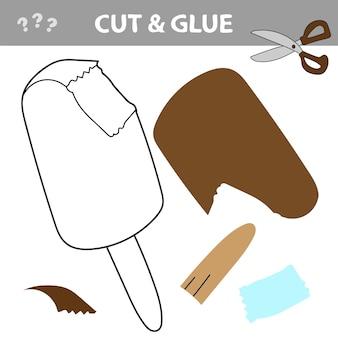Planilha cortar e colar - sorvete. jogo de cortar e colar para crianças
