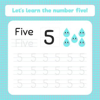 Planilha criativa número cinco com gotas de água