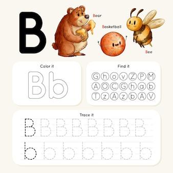 Planilha da letra b com urso, abelha e basquete
