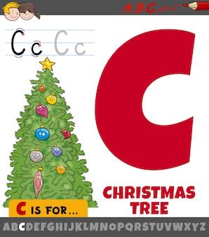 Planilha da letra c com árvore de natal de desenho animado
