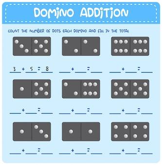 Planilha de adição de matemática domino