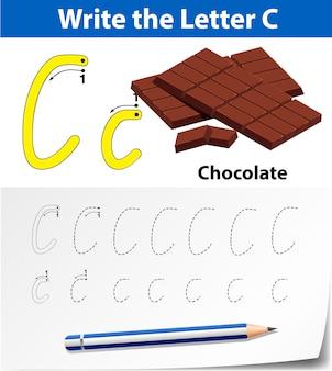 Planilha de alfabeto de rastreamento da letra c