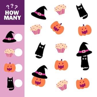 Planilha de atividades educacionais para crianças em idade pré-escolar. contando crianças, jogo de halloween. abóbora bonito dos desenhos animados, gato preto, chapéu e bolinho