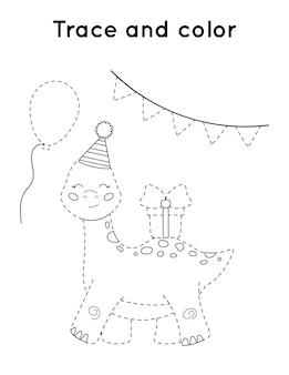 Planilha de atividades para impressão de rastreamento e cores. dinossauro bonito dos desenhos animados com presente.