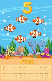 Planilha de cinco peixes subaquáticos