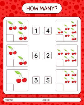 Planilha de contagem de quantos jogos com cereja para crianças em idade pré-escolar, planilha de atividades para crianças, planilha para impressão