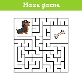 Planilha de desenho animado de labirinto para crianças