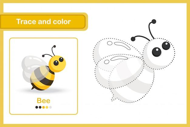Planilha de desenho e vocabulário, rastreamento e cor: abelha