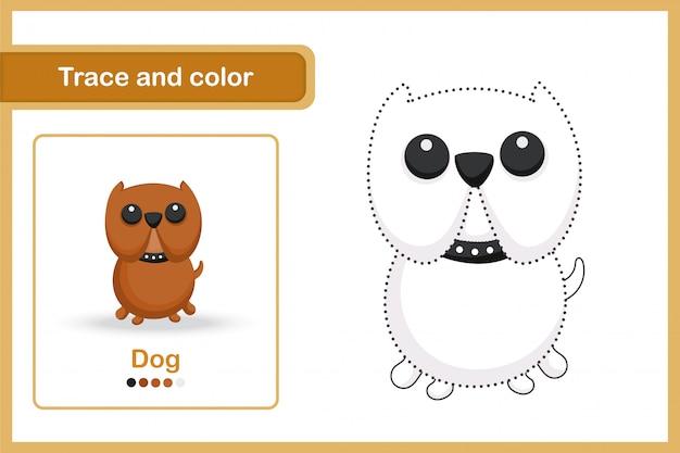 Planilha de desenho e vocabulário, rastreamento e cor: cão
