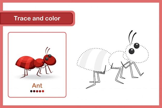 Planilha de desenho e vocabulário, rastreamento e cor: formiga