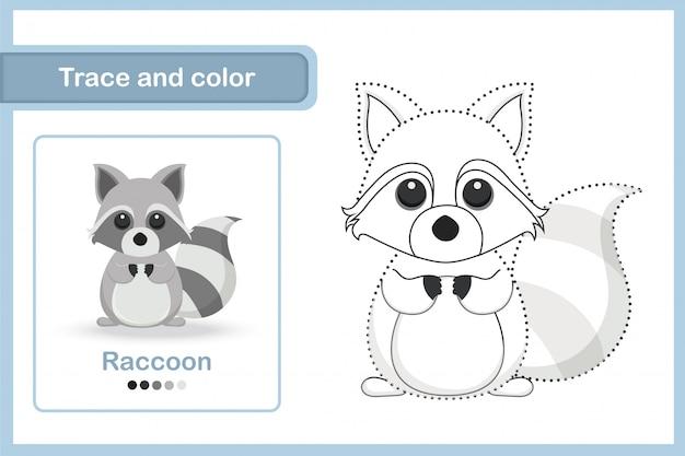Planilha de desenho e vocabulário, rastreamento e cor: guaxinim
