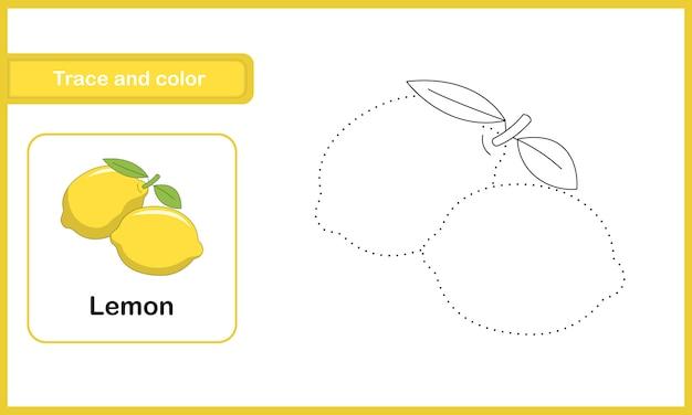 Planilha de desenho e vocabulário, rastreamento e cor: limão