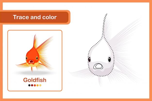 Planilha de desenho e vocabulário, rastreamento e cor: peixe dourado