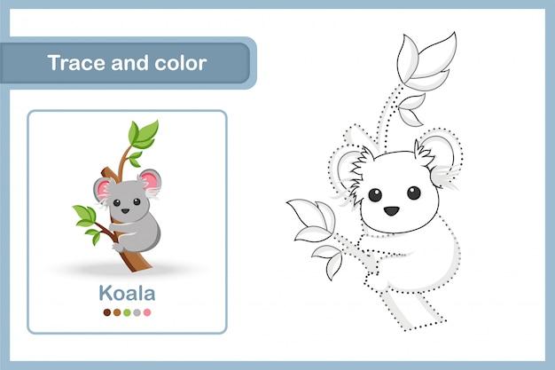 Planilha de desenho e vocabulário, traço e cor: koala