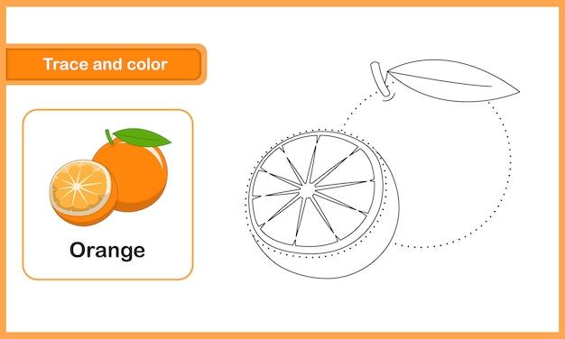 Planilha de desenho e vocabulário, traço e cor: laranja