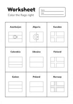 Planilha de geografia para crianças em idade pré-escolar e escolar. colora as bandeiras corretamente. página para colorir.