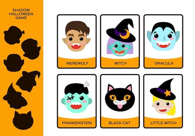 Planilha de halloween. conjunto de monstros. bruxa, bruxinha, lobisomem, gato preto, drácula e frankenstein. jogo de sombra de educação para crianças. feliz jogo de halloween. vetor.