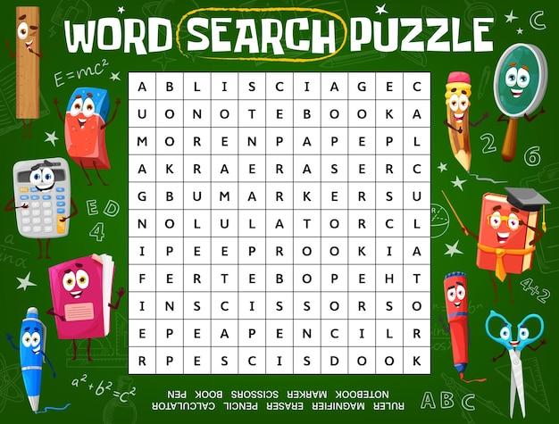 Planilha de jogo de quebra-cabeça de palavras com personagens da escola