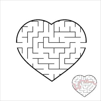 Planilha de labirinto em forma de coração para crianças