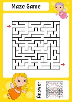 Planilha de labirinto fácil com fadas